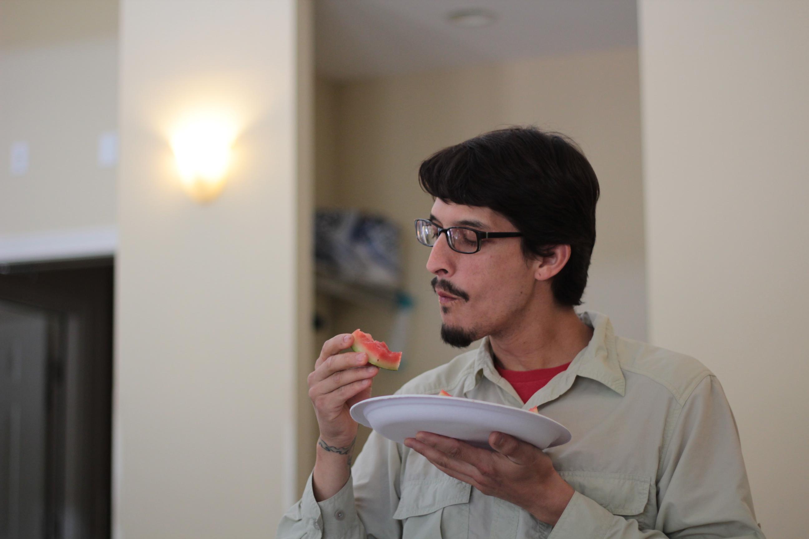 Daniel couldn't have enough watermelon left